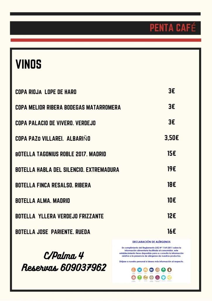 carta de vinos penta